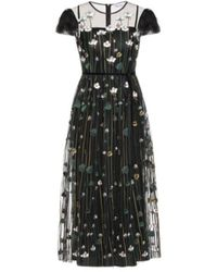 RED Valentino Long Tulle Dress With Flower Embroidery - Noir