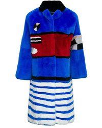 FRAME Fur Coat - Bleu