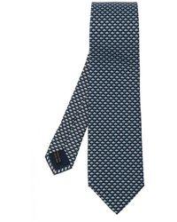 Ferragamo Patterned Silk Tie - Blauw