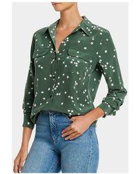 Equipment Camicia Slim Signature seta stelle - Verde