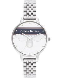 Olivia Burton - Varsity White & Silver Bracelet Ob16vs07 34 Mm - Lyst