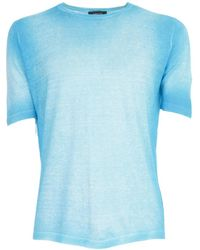 Avant Toi Round Neck Half Sleeves T-shirt - Blauw