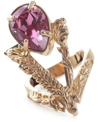 Versace Metallic Strass Fashion Jewelry Ring - Geel