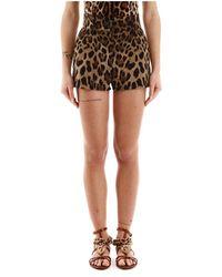 Dolce & Gabbana Animal Print Shorts - Bruin
