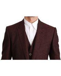 Dolce & Gabbana Maroon Brocade 3 piezas traje de Martini Rojo
