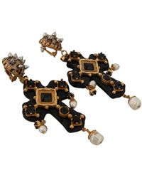 Dolce & Gabbana Cross Oorbellen - Zwart