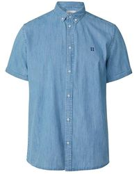 Les Deux Vagrant Chambray Shirt - Blauw