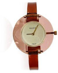 Gucci Lucite Manual Wind Wrist Watch Bracelet Bangle Zeldzaam - Roze