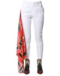 MSGM Pants With Scarf Detail - Bianco