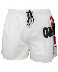 DSquared² Costume Da Bagno Boxer Con Logo Laterale - Wit