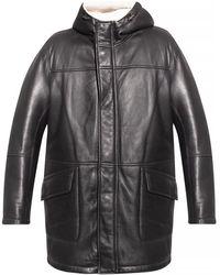 Yves Salomon Hooded Shearling Jacket - Zwart