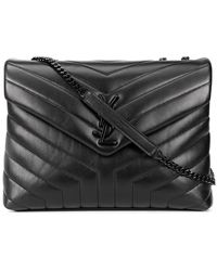 Saint Laurent Loulou Quilted Bag With Logo Badge - Zwart