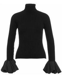 Elisabetta Franchi Narrow-ribbed Sweater With Ruffle Sleeves - Zwart