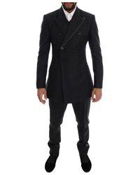 Dolce & Gabbana Wool Double Breasted 3 Piece Suit - Zwart