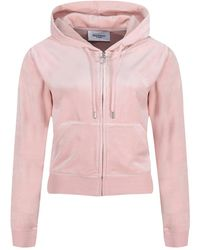 Juicy Couture Hoodie Robertson Classic Velour - Roze