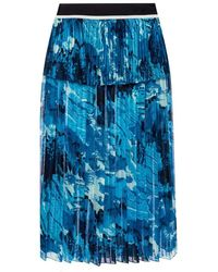 Victoria Beckham Printed Pleated Skirt - Blauw