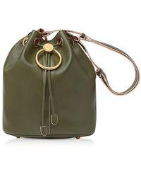 Marni Earring Leather Drawstring Bucket Bag - Groen