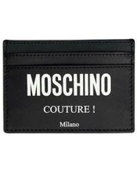 Moschino Men's Genuine Leather Credit Card Case Holder Portemonnee - Zwart