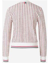 Thom Browne - Striped cardigan Blanco - Lyst