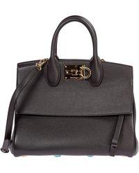 Ferragamo Women's Leather Handbag Shopping Bag Purse Studio - Zwart