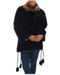 Dolce & Gabbana Lamb Leopard Print Fur Jacket - Zwart