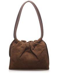 Loewe Vintage Suede Shoulder Bag - Bruin