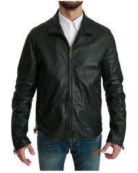 Dolce & Gabbana Full Zip Biker Coat Jacket - Verde