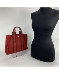 Hermès Paris Vintage Red Cotton Fourre Tout PM Tote Bag - Rosso