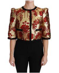 Dolce & Gabbana Bloemen Brocade Kort Jasje - Rood