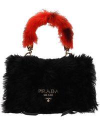 Prada Tracolle Handle Pelliccia - Zwart