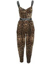 Dolce & Gabbana Leopard-print Jumpsuit - Bruin