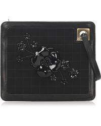 Chanel Vintage Camellia Suede Clutch Tas - Zwart