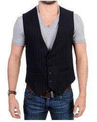 CoSTUME NATIONAL Striped cotton casual vest - Nero
