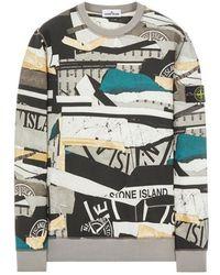 Stone Island 63087 Brushed Fleece. Washed_ 'mixed Media' All-over Print - Meerkleurig