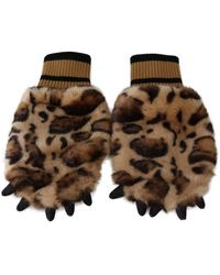 Dolce & Gabbana Leopard Paw Fur Knitted Elastic Wrist Gloves - Braun