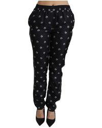 Dolce & Gabbana Pantalon imprimé mi taille Silk - Noir