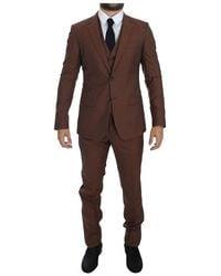 Dolce & Gabbana 3 Piece Slim Fit Suit - Bruin