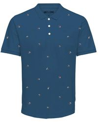 Only & Sons Onskrister Slim Ss Aoe Polo - Blauw