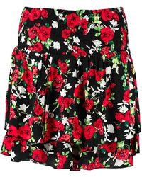 Colourful Rebel Roses Two Layer Skirt - Rood