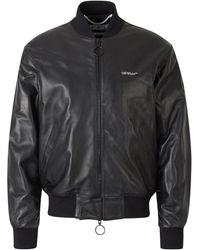 Off-White c/o Virgil Abloh Overeenkomst Leather Jacket - Zwart
