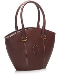 Cartier Must de Cartier Leather Handbag Marrón