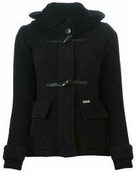 Bark Short hooded coat - Negro