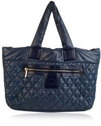 Chanel Vintage Nylon Reversible Coco Cocoon Tote Bag Handbag - Blauw