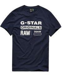 G-Star RAW T-shirt Navy Met Witte Opdruk (d14143 - 336 - 6067) - Blauw