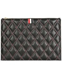 Thom Browne Small document holder with logo - Negro