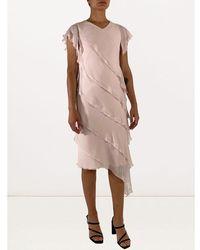 Max Mara Short sleeve asymmetric layered dress Rosa