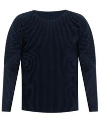 Issey Miyake Pleated T-shirt with long sleeves - Blu