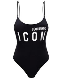 DSquared² One-piece Swimsuit With Logo - Zwart