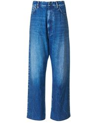 Balenciaga Flowy Denim Print Pants - Blauw