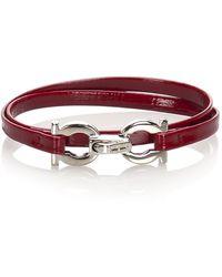 Ferragamo Gancini Leather Bracelet - Rood